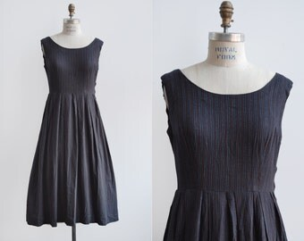 Sleepy Hollow Dress / 1950s cotton stripe dress / vintage navy day dress