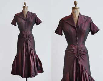Debutate Dress / 1940s taffeta party dress / vintage ruffle dress