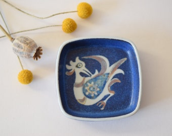 Royal Copenhagen - blue tray with birds - 708/2882 - Nils Thorsson - 70s - Danish midcentury