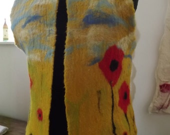 Hand Felted Waistcoat, Gilet with Poppy Design size Small/Petite
