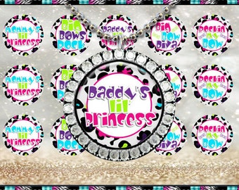 "Bow Mix Mommy's Daddy's Lil Princess 977 - INSTANT DIGITAL DOWNLOAD - 1"" Bottlecap Craft Images (4x6) Digital Collage Sheet"
