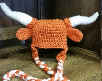 Crocheted Texas Longhorn inspired hat