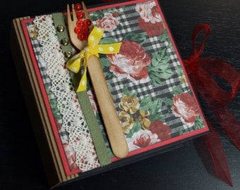 Country Rose Recipe Book-  Mini Album - Handmade Scrapbook Recipe Album