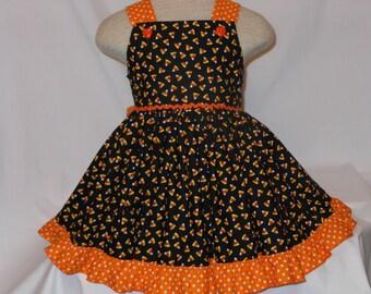 Candy Corn Delight Dress, for girls, Custom Boutique, Fall Candy Corn Delight Dress, Birthday Dress, Halloween Party Dress, Unique, Handmade