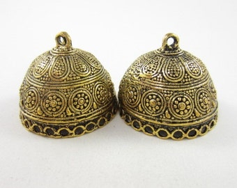 2pcs 30mm-Opening-Round End Cap with 25-Dangling-Holes Highly Textured Gold Plated (F2110)