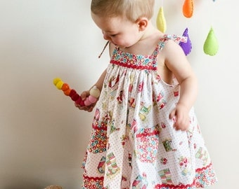 Girls dress sewing pattern Daisy Sundress digital children's sewing pattern, girls sundress pattern and tutorial sizes 6-9 months to 8 years