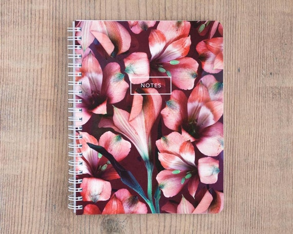 Pink Alstromeria Notebook, Journal, Diary, Flower Statement, Travel, Gift, Planner, Writing, Thoughts, Notes, 5.5x7.25 inch