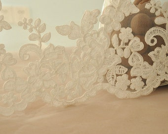 bridal alencon lace trim, scalloped flroal embroidery lace trim in ivory