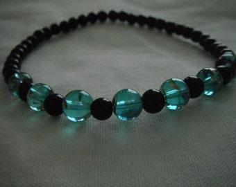 Turquoise & Black Stretch Bracelet