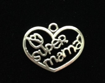 8 pieces Super Mama charms, mom charms, mama charms Mom heart charms, 27x21mm antique silver finish , Mom charms, Mothers day charms 28-6-AS