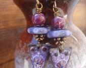 Purple Burst, Enameled Copper Dangle Earrings, OOAK Artisan Earrings, Gypsy Earrings, Purple Lover, Spring Earrings, Daisies, Bohemian Chic