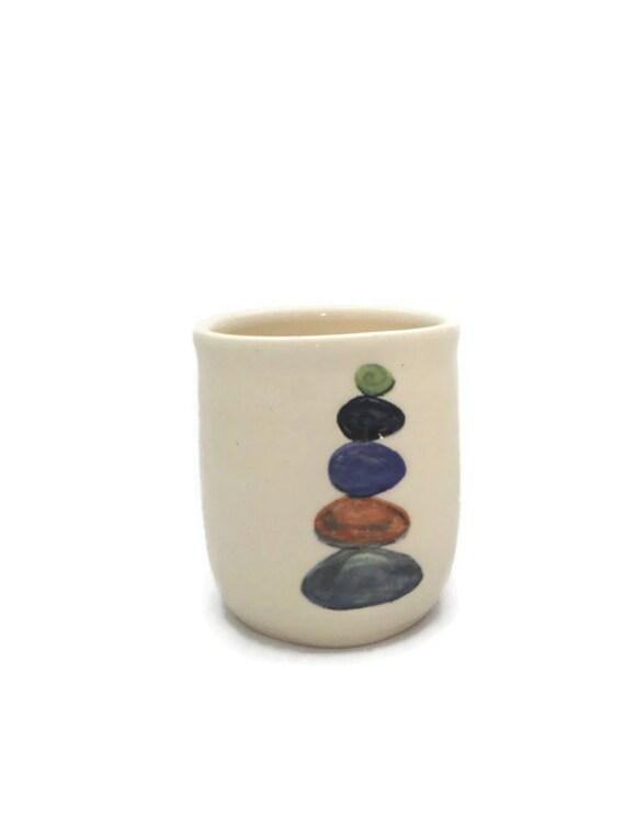 Ceramic handleless mug 11 oz with colored stacked rocks stones - Handleless coffee mugs ...