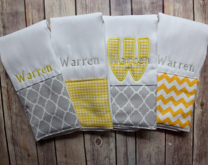 Baby Boy Monogrammed Burp Cloth, Personalized Baby Boy Burp Cloth, Monogram Boy Burp Cloth Gift Set, Baby Shower Gift, Yellow Grey Boy