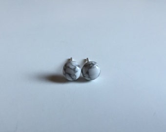 Marble cabochon howlite stud earring - everyday jewelry-modern - minimalist - simple - delicate -gifts for her