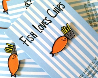 Fish Loves Chips Enamel Pin Badge
