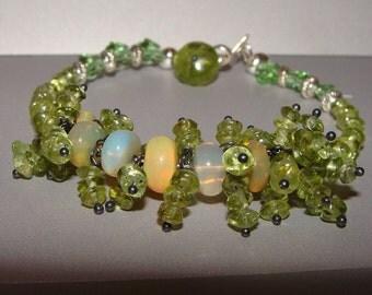 AAA Quality Peridot and Ethiopian Opal Bracelet