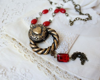 Vintage Assemblage Necklace Vintage Pendant Necklace Romantic Gifts Upcycled Repurposed ForevermoreJewels