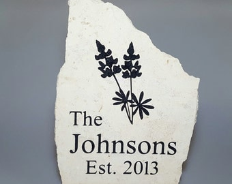 Texas Bluebonnets Personalized Engraved Garden Stone