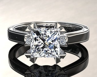 Moissanite Engagement Ring Princess Cut Moissanite Ring 14k or 18k White Gold Matching Wedding Band Available W27MOISW