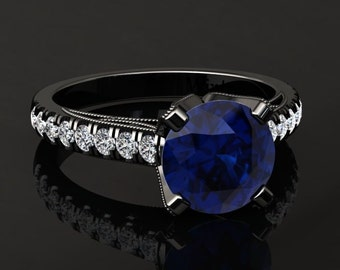 Blue Sapphire Engagement Ring Blue Sapphire Ring 14k or 18k Black Gold Matching Wedding Band Available W4BUBK
