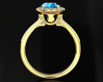 Blue Topaz Halo Engagement Ring Blue Topaz Ring 14k or 18k Yellow Gold Matching Wedding Band Available W20BU2Y
