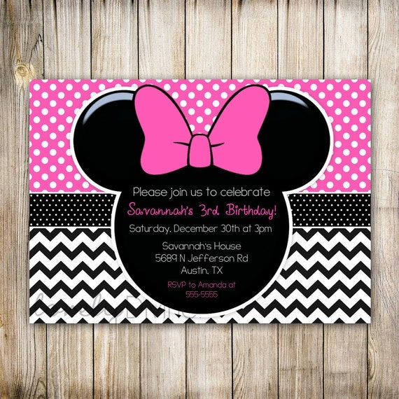 minnie mouse chevron geburtstag 1 geburtstag einladung 2. Black Bedroom Furniture Sets. Home Design Ideas