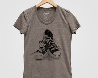 Womens Sneakers T Shirt Screen Print Tri-Blend Short Sleeve Available: S, M, L, XL
