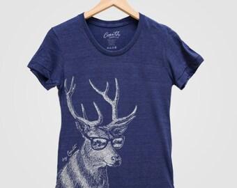 DEER Print Shirt Women Custom Hand Screen Print Tri-Blend Short Sleeve Tshirt Available: S, M, L, XL