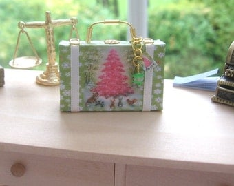 dollhouse christmas  suitcase  luggage vintage themed miniature 12th scale