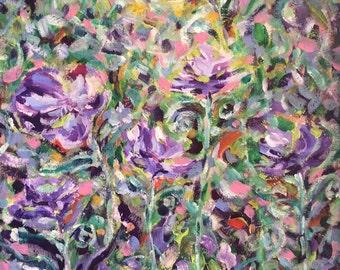 Dancing Purple Pansy Still life Painting, Original Impressionist Acrylic Fine Art by Aeris Osborne, Stretched Canvas Painting Aeris Osborne