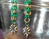 Chain Maille Green and Gold 4-leaf Clover Earrings, Chain Mail earrings, chain maillie earings, Four-Leaf clover, 4-H