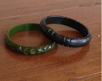 Dark Olive Green Bakelite Bangle Bracelet