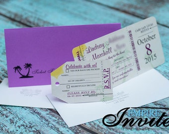 Boarding Pass Wedding Invitation, destination wedding invitation | Custom handmade in Canada by -- www.empireinvites.ca --
