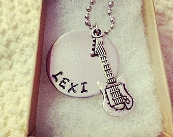 Personalized Handstamped Guitar Pendant