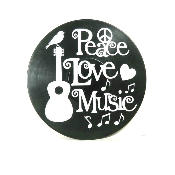Peace Love Music Quote Vinyl Lettering On Vinyl Record