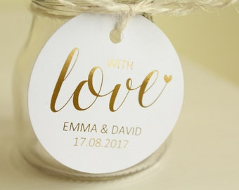Personalised Wedding Favour/Gift 'With Love' Tags with Bride and Groom Names & Date in Gold/ Silver/Rose Gold/Champagne Gold/Colour Foils
