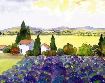 Watercolour Print, Lavender Field, Provence, South Of France, 8ins x 6ins,  Fathers Day, Gift Idea, Art And Collectibles