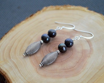 Black Freshwater and Sterling Silver Earrings- Black Pearl Earrings- Pearl Earrings