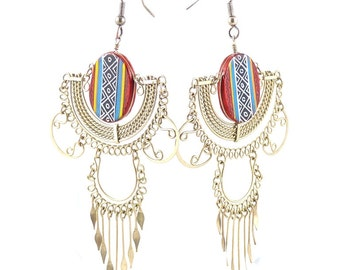 Old, vintage Handcrafted Mexico Mexican Silver tribal Earrings. Free shipping worldwide!