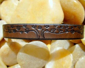 Womens Leather Bracelet Cuff - Custom - Love Birds in a Blossom Tree - 1/2 inch wide - Women - Snap - Single Leather Wrap
