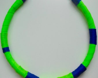 Green and Blue Tribal Necklace - Lime Green and Royal Blue Statement Necklace - Womens Wrapped Fabric Necklace