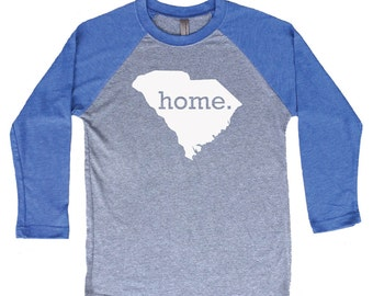 Homeland Tees South Carolina Home Tri-Blend Raglan Baseball Shirt