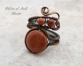 Brown Goldstone Adjustable Wire Wrapped Ring / wire wrapped jewelry handmade / wire jewelry   copper jewelry earthy jewelry   copper ring