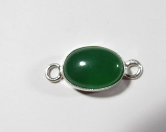 Bracelet Link, Green Onxy Gemstone Link, Sterling Silver Jewelry Connector Component, 24x11mm, Gemstone Bracelet Connector Link Component
