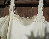 Victorian Off White Dress Cut Work Lace Monogrammed French 1900's Cotton Dress Handmade Large or XL