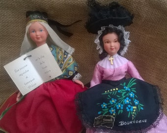 2 French Folk Dolls Souvenir Philippe and Alice Simon Tagged Blond and Brunette Original Hats Art Dolls Hand Painted Face #sophieladydeparis