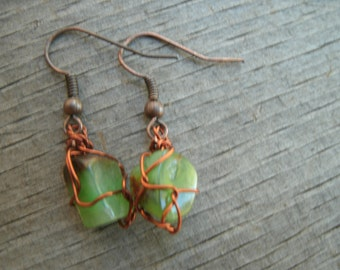 Crysophrase crystals with pure copper earrings