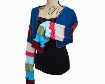 Recycled Cashmere Sweater Shrug Women's Medium Bolero Repurposed Teal
