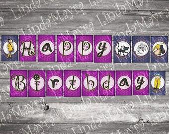 Coraline Birthday Pennant Banner digital file