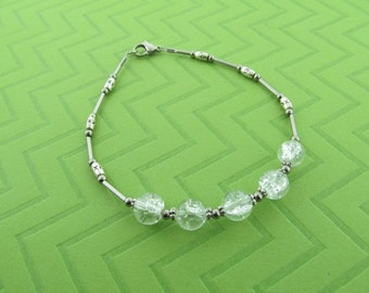 stainless steel, pewter and glass anklet. avail in 9 and 10 inches